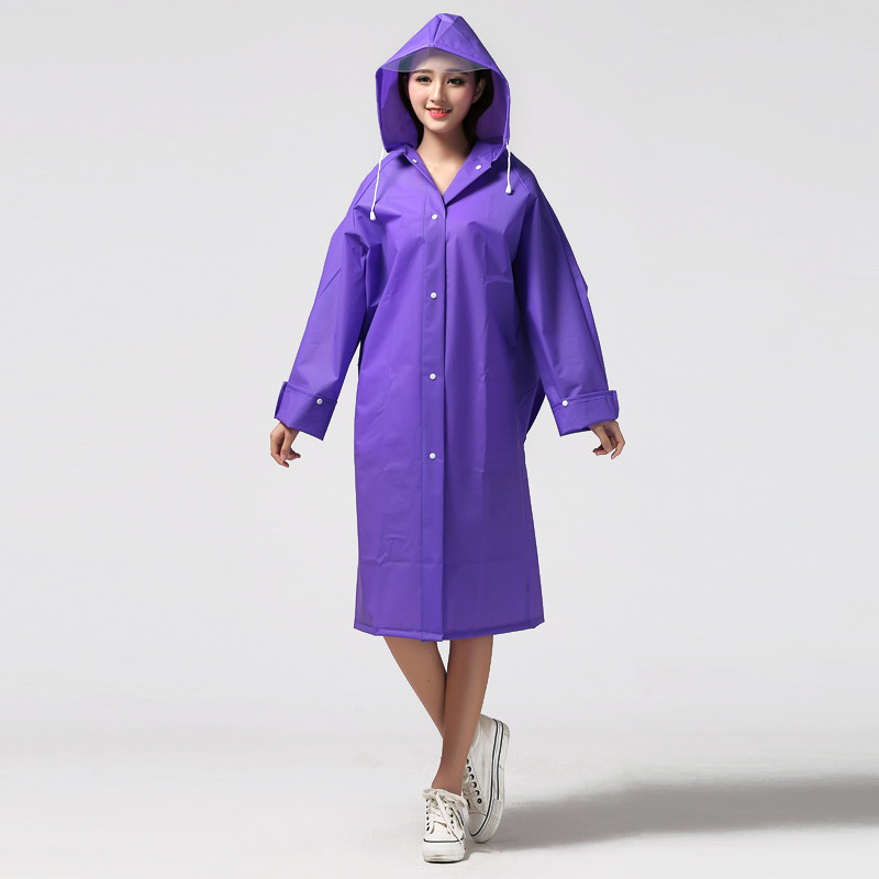 2Pcs/lot Solid Color Unisex Adult Raincoat With Hood Waterproof Women Outdoor Rainwear Over Knee Length Poncho Coat