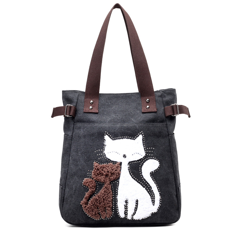 2017 Fashion Women's Handbag Cute Cat Tote Bag Lady  Canvas Bag Shoulder bag