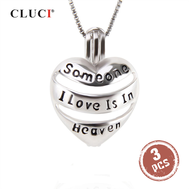 CLUCI 3pcs 925 Sterling Silver Hollow Pendants Jewelry In Memory Of Someone Silver 925 Heart Pendant Wish Pearl Locket SC271SB
