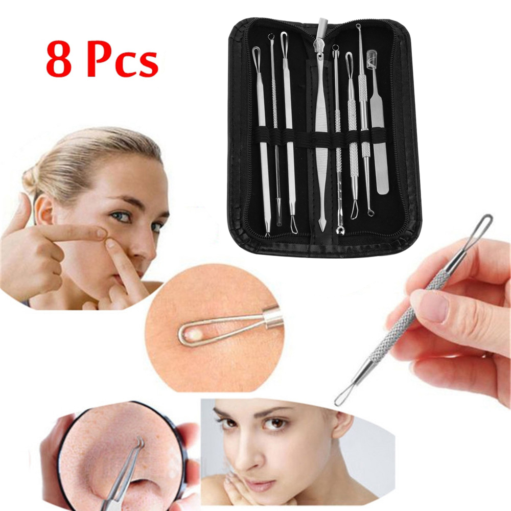 8 Pcs Stainless Steel Blackhead Remover Tool Kit Professional Blackhead Acne Comedone Pimple Blemish Extractor Beauty Tool