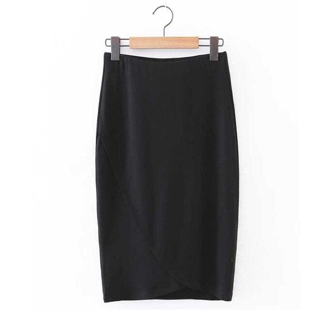 Lo nuevo 2017 Primavera Elegante Ropa de Trabajo Oficina Pencil Skirt Faldas Mujeres Longitud de La Rodilla Estiramiento Más El Tamaño XQB63026
