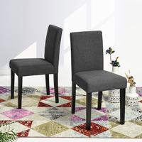 Modern Fabric Accent Side Dining Chairs Parson Chairs With Wood Legs For Kitchen Living Room Set