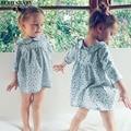 Ins bbay tollder menina outono vestido quente 2016 floral impressão menina roupas princesa lolita sweet crianças roupas da menina vestido floral