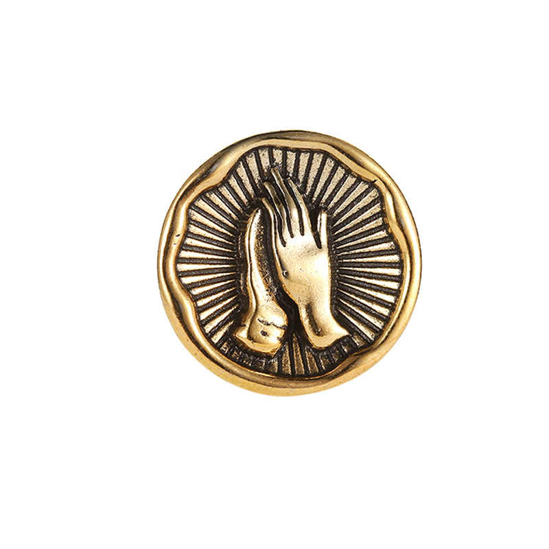 Spilli E Spille Per Le Donne Creativo del Metallo Dell'annata Rotonda Benedizione di Preghiera A Mano Spilla Gioielli Colar Spille Badge button Broche
