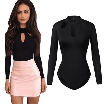 Sexy Turtleneck Halter Bodysuit Women Tops Choker Hollow Out Skinny Playsuit Black Romper Female Long Sleeve Body Suit Femme