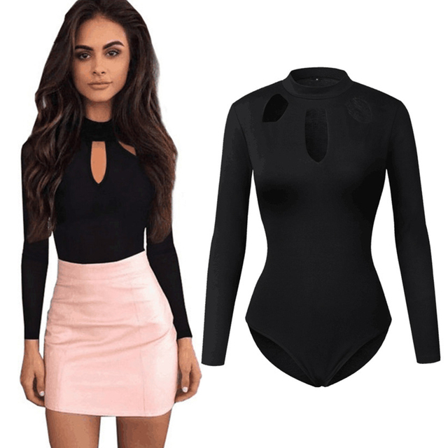 Sexy Turtleneck Halter Bodysuit Women Tops Choker Hollow Out Skinny Playsuit Black Romper Female Long Sleeve Body Suit Femme