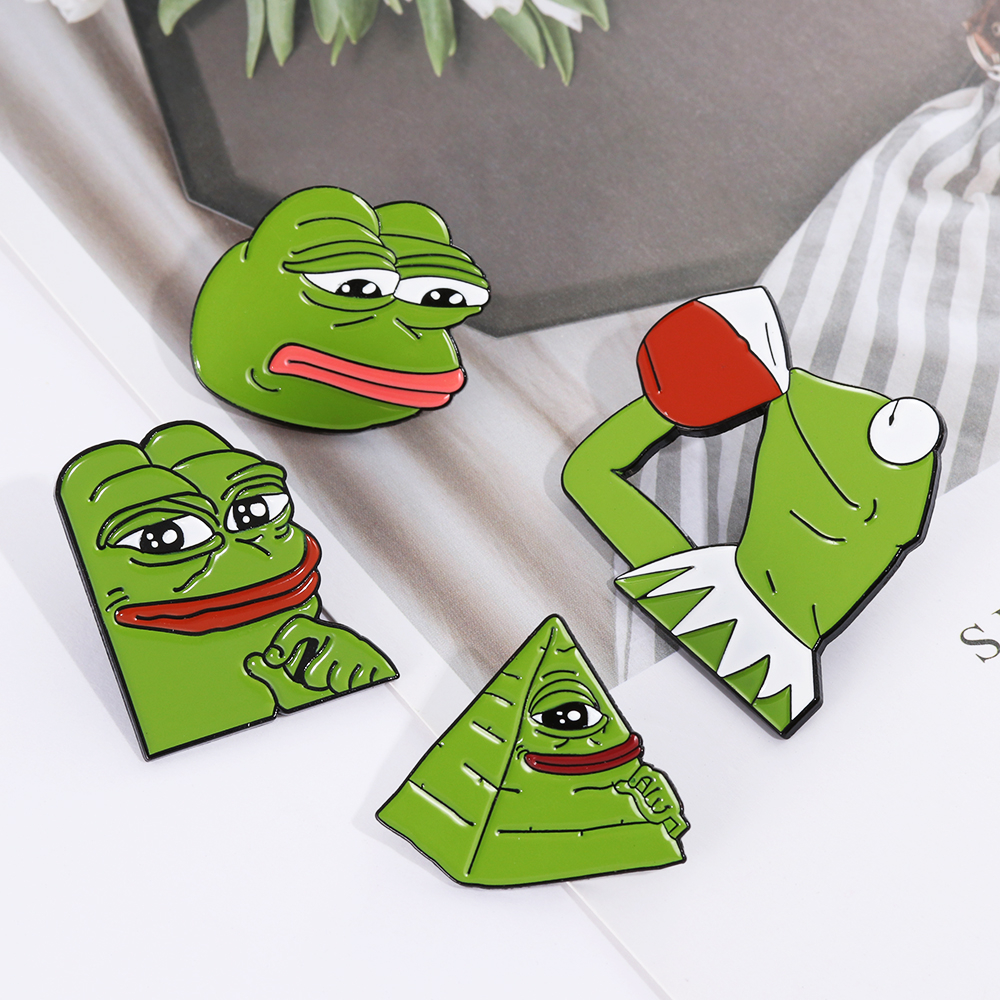 Badges Frog Pepe Pin Feels Bad Man Brooch Sad Frog Lapel Pin Feels Good Man Badges Pop Culture Pins Frog Jewelry Spare No Cost At Any Cost Home & Garden