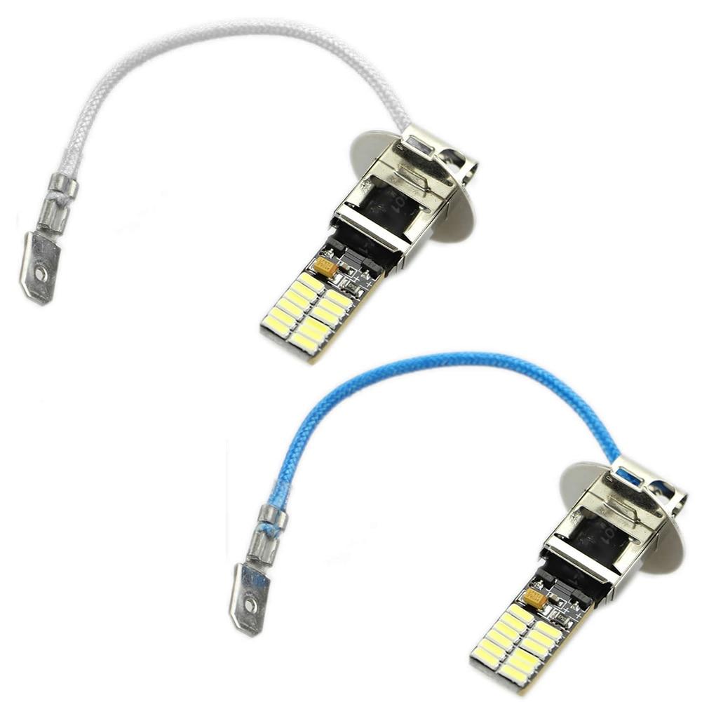 24-SMD-4014 H3 6500K HID Xenon White LED Bulbs For Fog Light Or Driving Lamp New