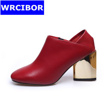 women's slippers fashion women pumps thick heels pointed toe high heels Wedding shoes red 2017Lady Super soft leather lazy shoes