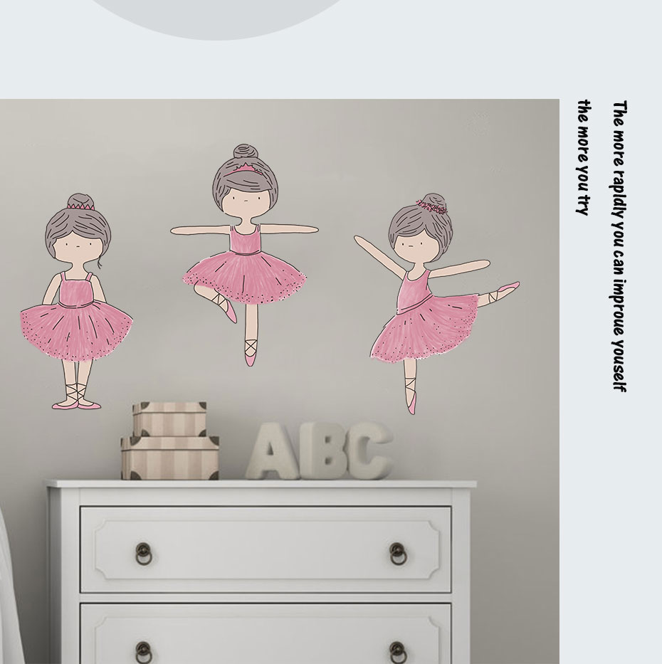Cartoon Pink Fairy Girls Color Wall Stickers For Living Room Bedroom ...