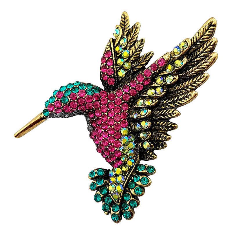 Broche en cristal multicolore avec oiseau en or Antique