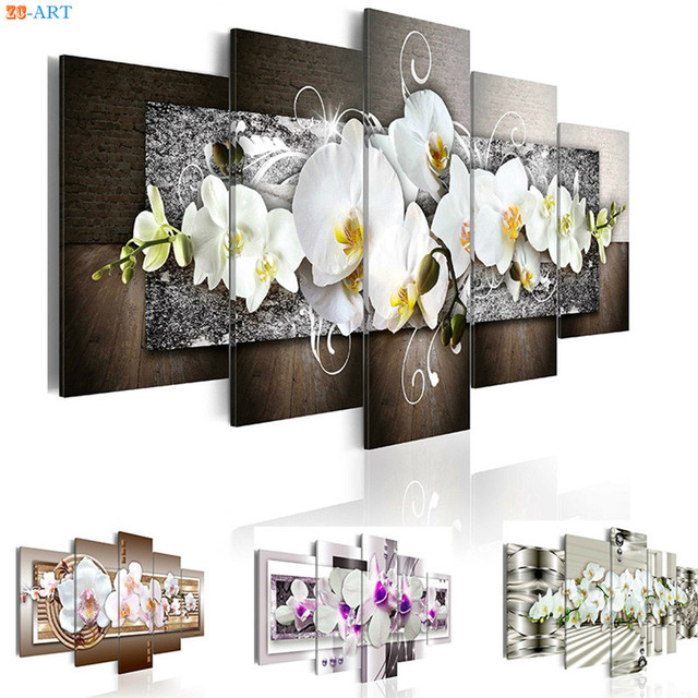 Orchids Flowers Prints Wall Painting 5 Pieces Floral Poster Modern Canvas Art Modular Pictures for Living Room Home Decor