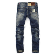 High Quality Mens Jeans Blue Color Printed Jeans For Men Ripped Button Jeans Casual Pants Quality