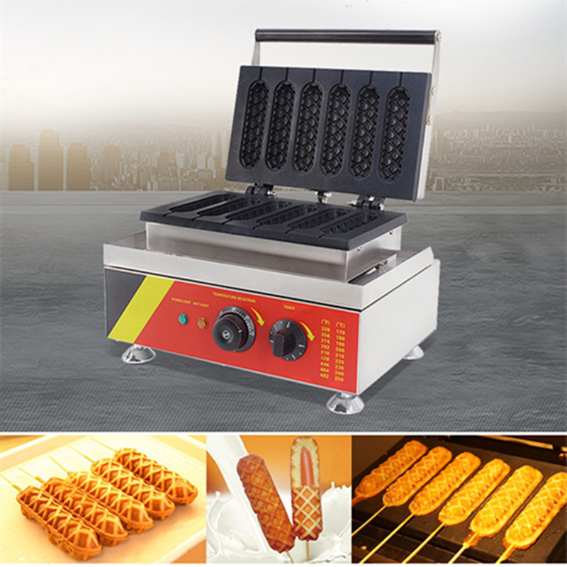 Commercial Electric Lolly Waffle Machine Maker 110V 220V Non-stick 6pcs Muffin Hot Dog Waffle Maker EU/AU/UK/US Plug free shipping commercial non stick 110v 220v electric 4pcs gayke hot dog penis waffle maker iron machine baker
