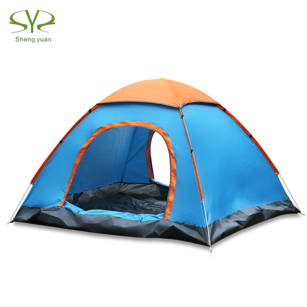 SHENGYUAN Outdoor Water Resistant Automatic Instant Setup Two Doors 3 - 4 Person Camping Tent With Canopy