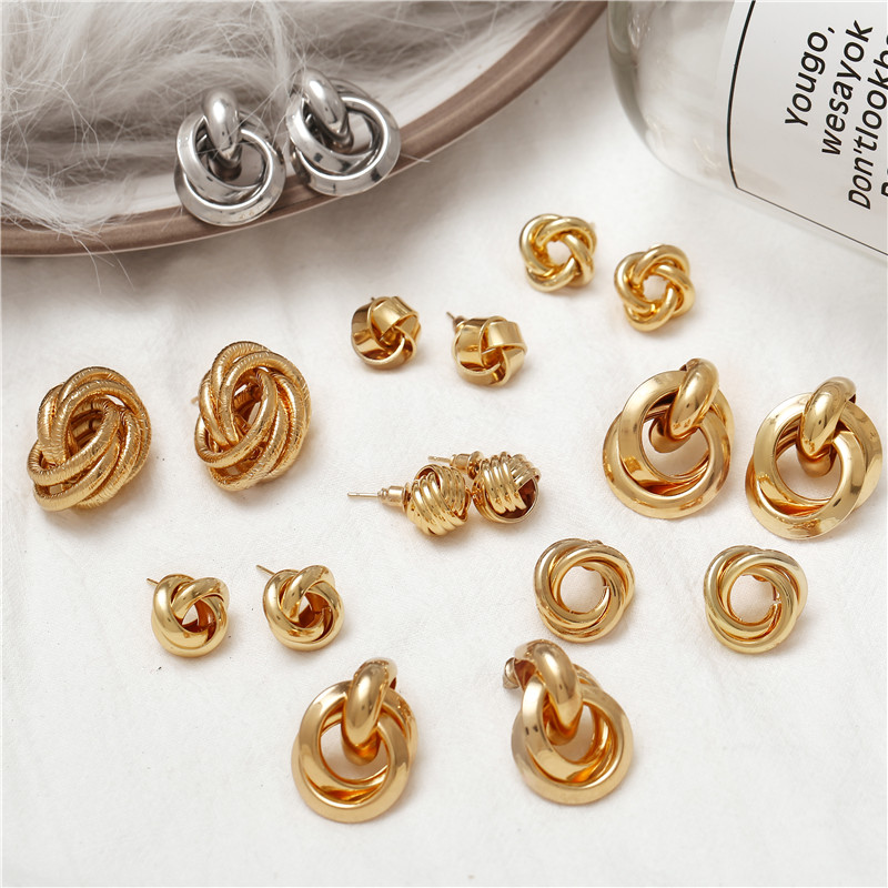 IF YOU Vintage Irregular Knot Stud Earrings For Women Punk 2019 New Trendy Gold Color Metal Earring Statement Fashion Jewelry