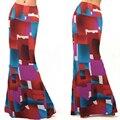 2016 mujeres del verano del estilo bohemio ocasional flojo impreso largo maxi falda de las señoras vintage palabra de longitud beach faldas