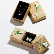 Fashion High Quality 3 Size Retro Jewelry Box Storage Case Flower Bracelet Ring Kraft Paper Letter