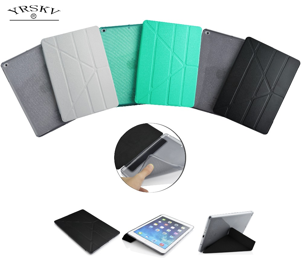 Case For iPad Air 2 YRSKV High Quality TPU Smart Sleep Cover , Ultra Slim Designer Tablet PU Leather Cover For Apple iPad Air2 air2 01 tpu protective tpu back case for ipad air 2 green