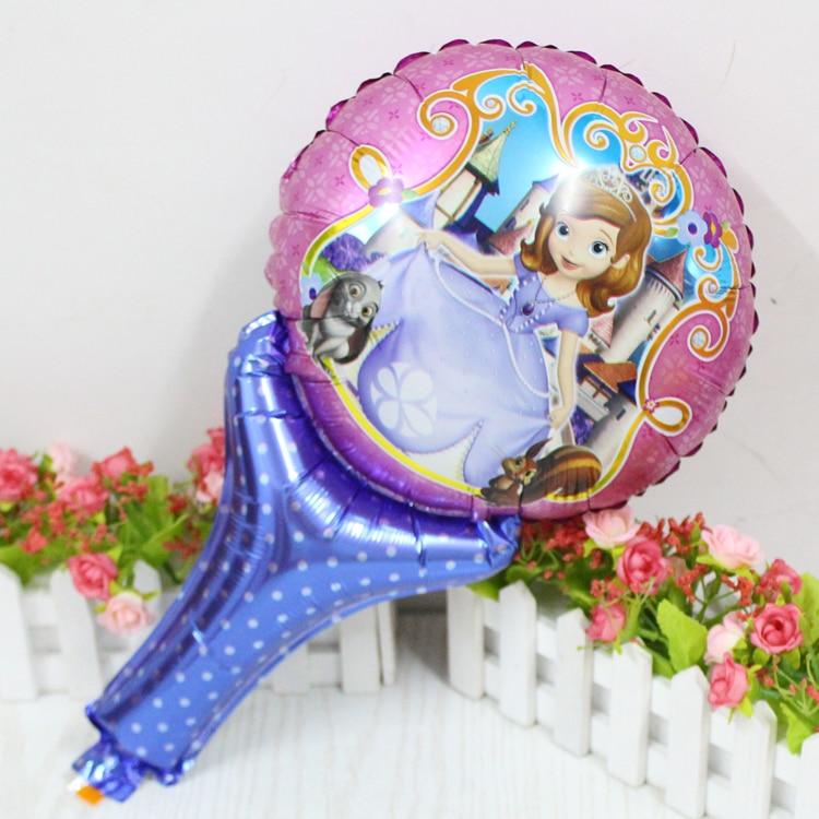 50pcs/lot Sophia princess sofia hand stick foil balloons Kids happy birthday bal
