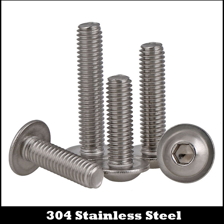M6 M6*10/12/16/20/25/30 M6x10/12/16/20/25/30 304 Stainless Steel Hex Hexagon Socket Round Button Head Assembly Screw With Washer 7pcs m6 60mm m6 60mm 304 stainless steel din7380 inner hex bolt hexagon socket mushroom round button head screw