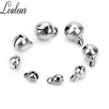 louleur 30pcs/lot Stainless Steel Jingle Bells 5mm 6mm 8mm 10mm End Charms Bead for Bracelets Christmas Crafts Jewelry Decration