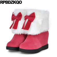 Shoes Hidden High Heel Round Toe Furry Slip On Lolita Kawaii Winter Snow Boots Women Ankle