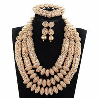 Dubai Jewelry Set Luxury Gold Color Big Nigerian Wedding African Beads Jewelry Set Costume Accessory Jewelry Design WE177