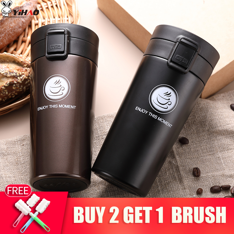 High Quality Double Wall Stainless Steel Vacuum Flasks 380ml Kereta Thermo Piala Kopi Teh Milk Perjalanan Mug Thermol Bottle Thermocup
