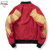 Aelfric Eden Gold Wing Embroidery Jacket Men 2018 New Spring Zipper Army Pilot Bomber Jackets Coats