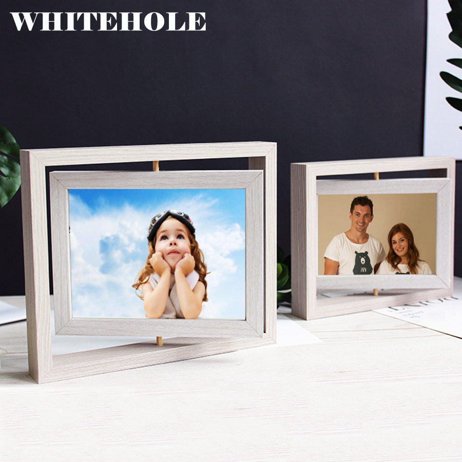 Desktop Photo Frame Picture Frame Rotate Freely 10X15 13X18cm Glass Inside Modern Art Home Decor Photos Frame image