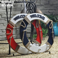 Special Mediterranean Red and Blue Life Buoy Anchor Hook Creative Home Sccessories Hanger