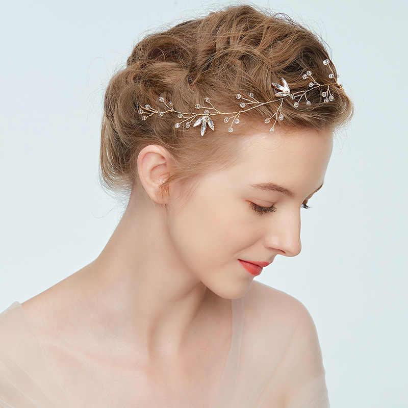 แฟชั่นสาว Headband Gold Leaf งานแต่งงานอุปกรณ์เสริมผม VINE เจ้าสาวเครื่องประดับไข่มุกเจ้าสาวเครื่องประดับ Headpiece