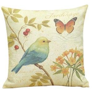 Image 2 - 45*45 センチ絵画鳥印刷クッションカバー 2018 オットンリネン染色ソファベッドホームデコレーション枕カバーカラフルな枕