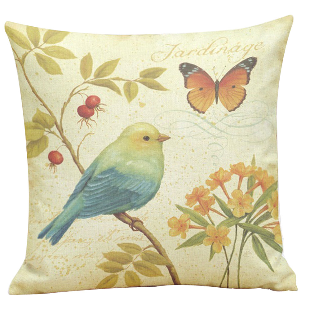 Image 2 - 45*45cm Painting Birds Printing Cushion Cover 2018 otton Linen Dyeing Sofa Bed Home Decor Pillow Cover Colorful Pillowcase-in Cushion Cover from Home & Garden