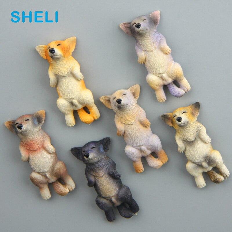 Лежа Chai собака магниты на холодильник Собака Глава мультфильм животных доски стикер магнит на холодильник детские игрушки подарок украшен...