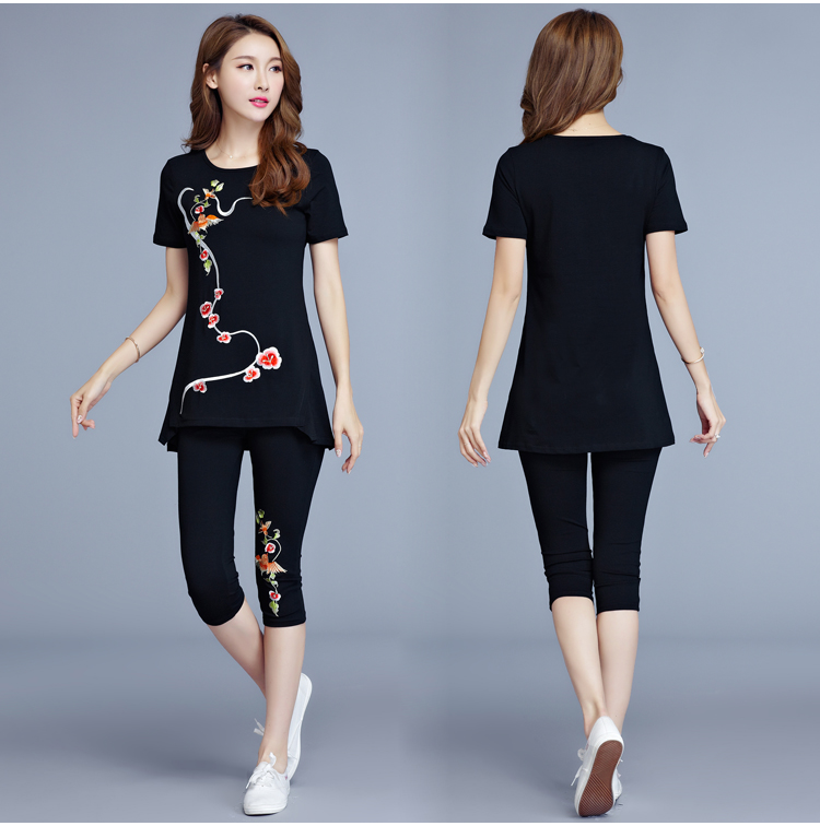 6258138594294 Plus size cotton women s pants suit t-shirt embroidered clothing summer  capri pants two piece of set women stretch slim L- 5XL