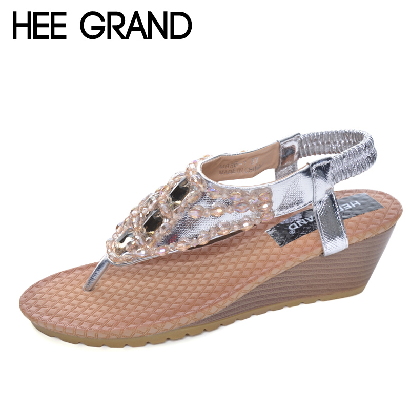 HEE GRAND Summer Wedges Sandals With Rhinestone Crystal Bling Flip Flops Fashion Platform Wedge Shoes Woman Size 35-40 XWZ896 hee grand gladiator sandals summer style flip flops elegant platform shoes woman pearl wedges sandals casual women shoes xwz1937