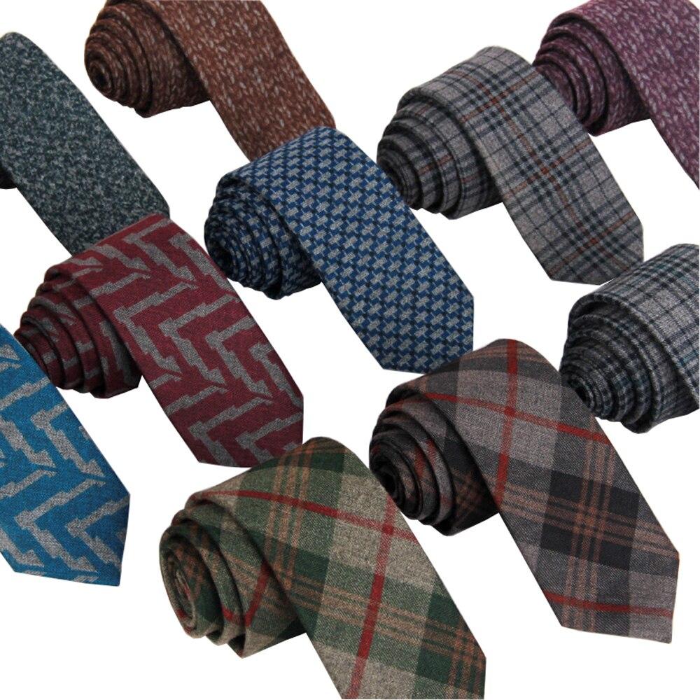 da6616edd Novo 2016 Homens de Lã Tecida Gravata 6 cm Magro Estreito Magro Xadrez Malha  Gravata Gravata de Cashmere Presente de Casamento Parte