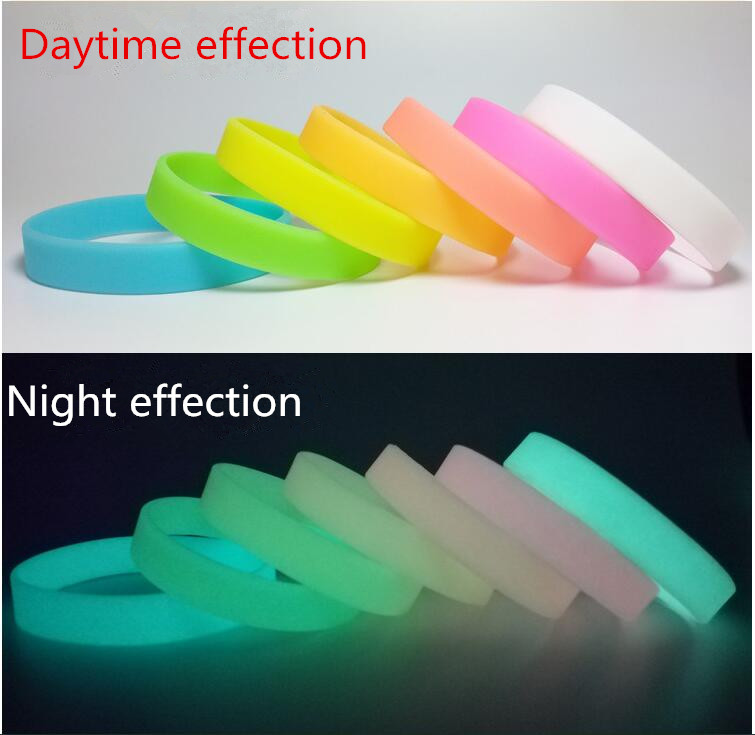 Sports fashion luminous silicone bracelet can be custom logo lettering fill color printing LOGO multicolor mixed wholesale