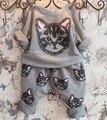 Весной и осенью период новый Девушки из чистого хлопка флис + отдых кот костюм дети харун брюки 2 костюмы