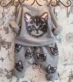 Período de primavera e outono Meninas novas são feitas de algodão puro fleece + lazer gato dos desenhos animados terno crianças haroun calças 2 ternos