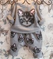 Período de primavera y otoño nuevas Muchachas están hechos de algodón puro fleece + ocio haroun 2 trajes de gato de dibujos animados traje de los niños
