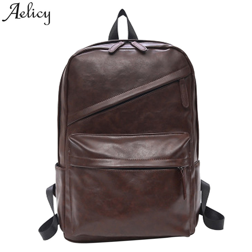 Aelicy Large Capacity Backpack Women Men Vintage PU Leather Shoulder Bag Zipper Teenager Travel Bags School Backpack S30 new playeagle waterpoof pu leather golf boston bag golf clothing bag large capacity travel bag with shoes pocket oem logo