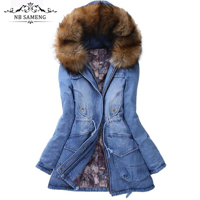 ФОТО Winter Women Jacket 2017 Big Yards Long Thick Denim Cotton-padded Parka Casual Winter Coat Women Hooded Fur Collar Coat ZL043