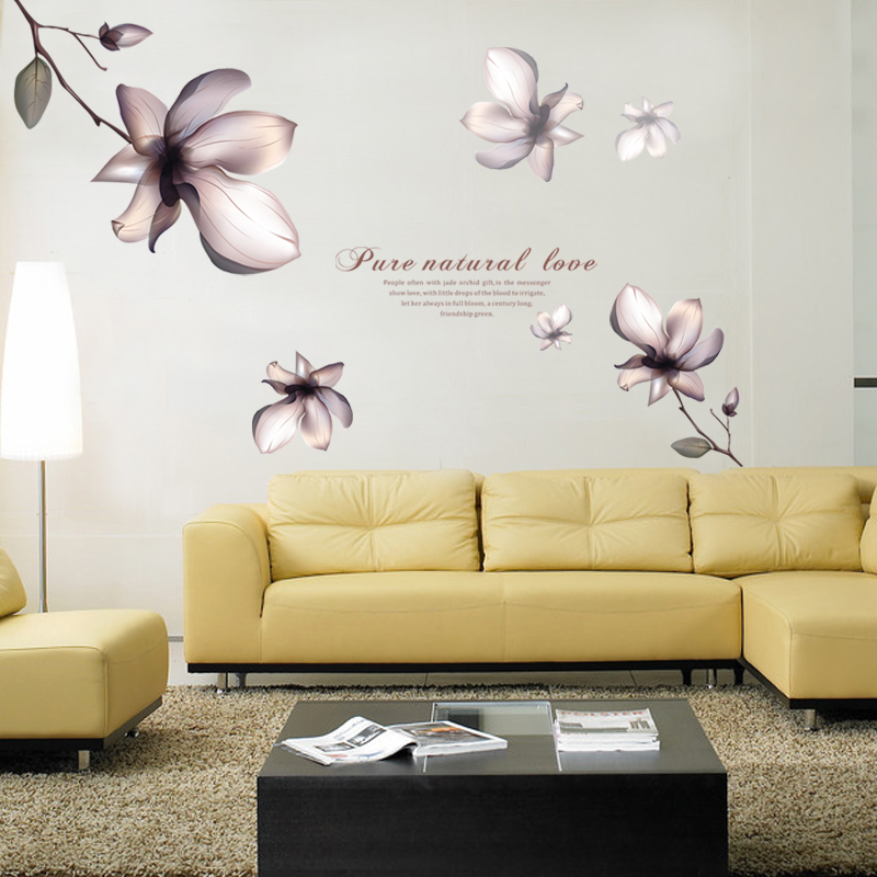 2015 Elegant Magnolia Flower Diy Wall Stickers Home Decor