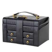 Newest Fashion Elegant Leather Alloy Mirror Big Capacity Three Layers Jewelry Box
