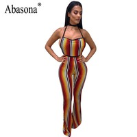 Abasona Striped Jumpsuits Women Sleeveless Backless Overalls Sexy Club Rompers Womens Jumpsuit Skinny Wide Leg Pants