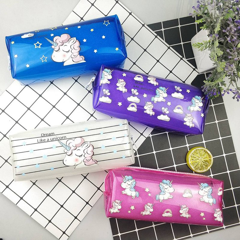 Colorful Animal Transparent  PVC Waterproof Large Capacity Pencil Bag Stationery Storage Organizer Bag School Office Supply