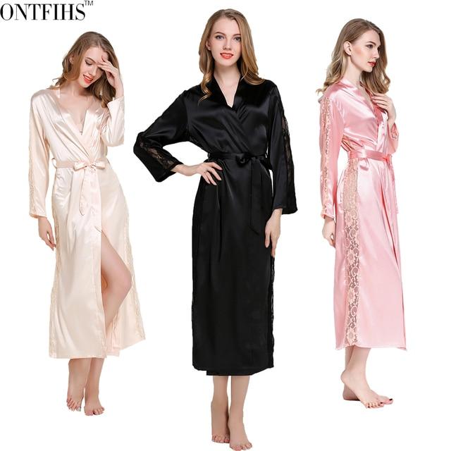 ONTFIHS Silk Satin Sleepwear Robes Womens Long Sleeve Pajamas Nightwear Femme Lounge Pyjama Black Champagne Pink Robe One Size